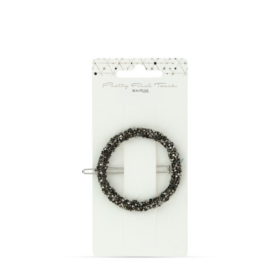 Barrette Ronde Noire Strass - Pretty Final Touch