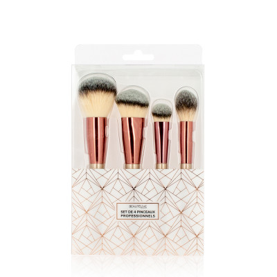 Set 4 pinceaux maquillage professionnels Rose Gold