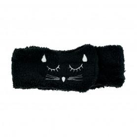 Bandeau éponge noir motif chat Beautélive