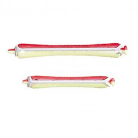 Bigoudis permanente jaune/rouge 8mm x12 - Bouclé