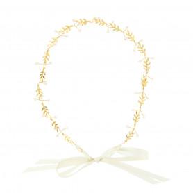 headband Mariée feuilles PM et perles doré Beautélive