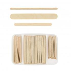 Spatules bois boîte 400 pièces 3 tailles Beautélive