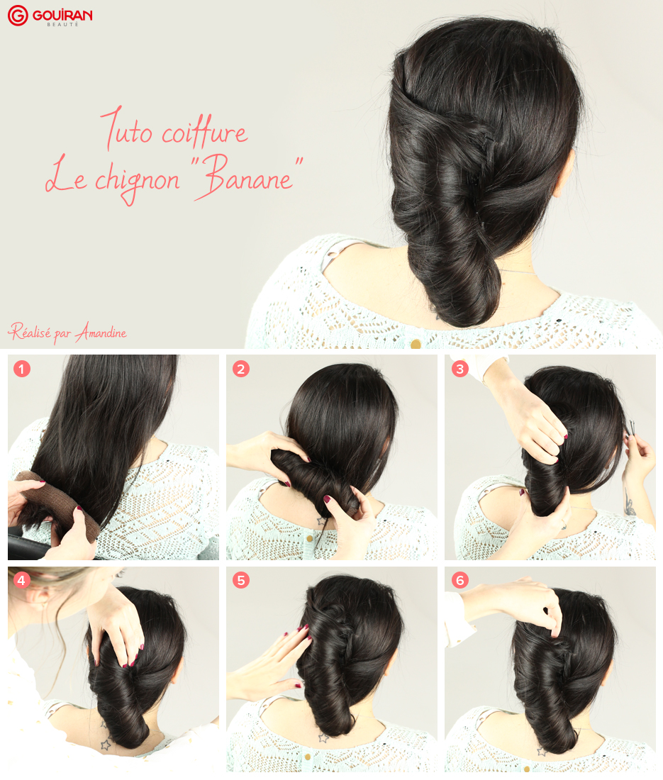 tuto coiffure r aliser un chignon banane gouiran. Black Bedroom Furniture Sets. Home Design Ideas