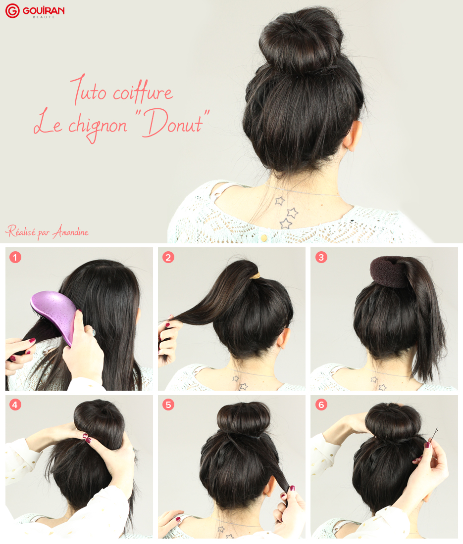 tuto coiffure le chignon donut gouiran beaut le mag. Black Bedroom Furniture Sets. Home Design Ideas